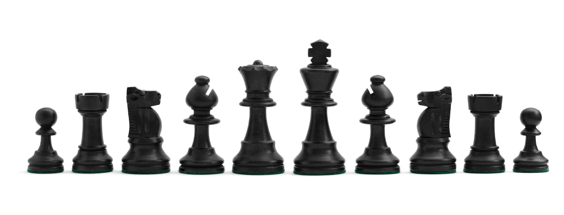 Black Chess Pieces on White
